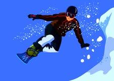 Snowboarderytterligheten hoppar från ett stup Royaltyfri Fotografi