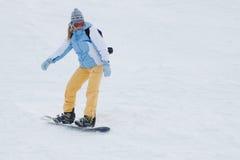 Snowboardfahrt. Stockfoto