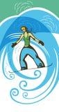 Snowboardflicka Royaltyfri Illustrationer