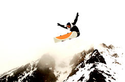 Snowboarding. Young boarder getting a whole lot of air on whakapapa skifield, Ruapehu, NZ Royalty Free Stock Photography