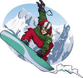 Snowboarding 2011. Cartoon-style illustration: a snowboarder is jumping. He wears a red and green suit. Snowy mountains on the background Royalty Free Stock Images