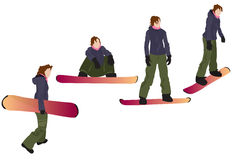 Snowboarding. /Four colorful female silhouettes isolated on white Stock Photography