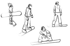 Snowboarding. Four female doodle silhouettes isolated on white Stock Images