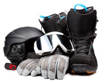 Snowboarding  accessories boots goggles gloves helmet Stock Photos
