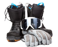 Snowboarding  accessories boots goggles gloves Stock Image