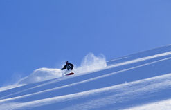 Adult active man Snowboarding in mountain snow Stock Image