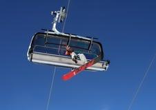 Snowboarding in Alpen Royalty-vrije Stock Afbeeldingen