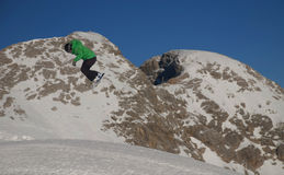 Snowboarding in the Alps Royalty Free Stock Photo
