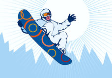 Snowboarding blue. Illustration on the sport of snowboarding stock illustration