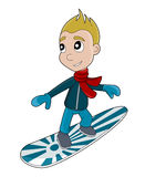 Snowboarding boy cartoon Royalty Free Stock Photography