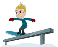 Snowboarding boy cartoon Stock Image