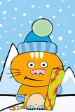 Snowboarding cat. A little red cat ready to start snowboarding Stock Image