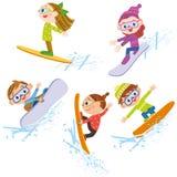 Snowboarding children Royalty Free Stock Photography