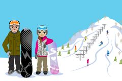 Snowboarding couple, in ski slope Royalty Free Stock Image