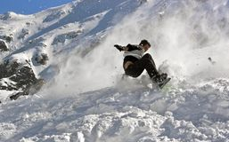 Snowboarding crash. Extreme crashes while snowboarding in the Fagaras mountains royalty free stock image