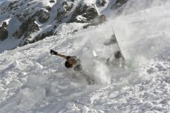 Snowboarding crash Stock Images