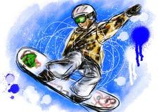 Snowboarding da tração da mão Fotografia de Stock