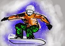 Snowboarding da tração da mão Imagens de Stock