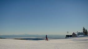 Snowboarding de montagne Photographie stock