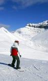Snowboarding de montagnes Images libres de droits