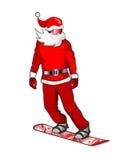 Snowboarding de Santa Photo stock
