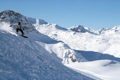Snowboarding de Val D'Isere Fotografia de Stock