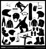 Snowboarding elements vector set. Stock Images