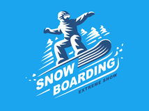 Snowboarding emblem Illustration on blue background Royalty Free Stock Photography