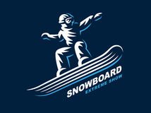Snowboarding emblem Illustration on dark background Stock Photography