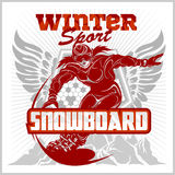 Snowboarding emblem, labels and designed elements Stock Photos