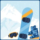 Snowboarding equipment on background of mountain Royalty Free Stock Photography