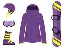 Snowboarding equipment, set. Snowboard, helmet, glasses, boots, jacket. Winter equipment icons. Vector illustration in flat style. Snowboarding equipment, set Royalty Free Stock Photos