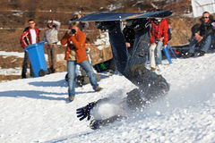 Snowboarding extreme fall stock photos