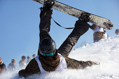 Snowboarding extreme fall Stock Photography
