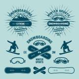 Snowboarding extreme winter sports vector emblems stock illustration