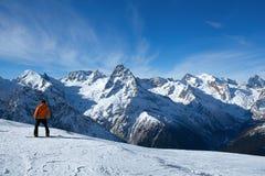 Snowboarding för vintersport arkivfoto