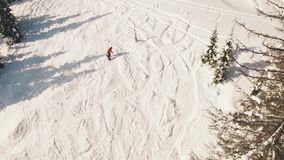Snowboarding freeriding in forest aerial view stock video