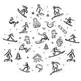 Snowboarding Freestyle Doodle Set well designed. Snowboarding Freestyle Doodle Set. Hand drawn vector line art well designed Royalty Free Stock Photos