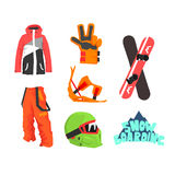 Snowboarding Gear Collection Royalty Free Stock Images