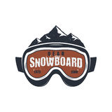 Snowboarding goggles extreme logo and label template. Winter snowboard sport store badge. Emblem and icon. Mountain Royalty Free Stock Images