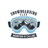 Snowboarding goggles logo and label template. Winter snowboard sport store badge. Extreme emblem and stamp. Mountain Royalty Free Stock Image