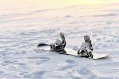 Snowboarding i snön på solnedgången Royaltyfri Fotografi