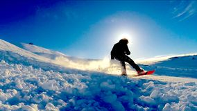 Snowboarding Iceland. Snowboarding in Blue Mountain (Bláfjöll) in South Iceland Stock Image