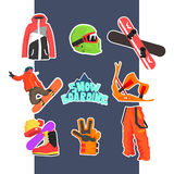 Snowboarding Icon Set. Vector Illustration Royalty Free Stock Images