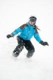 Snowboarding im Schneesturm Stockfoto