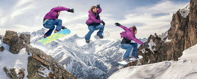 Snowboarding jump. Jump sequence. Les 2 Alpes, France Stock Photography