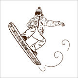 Snowboarding jumping man Stock Photo