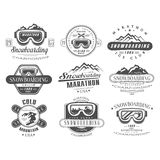 Snowboarding Logo and Label Template Set Stock Images