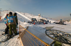 Snowboarding in Moscow Stock Photography