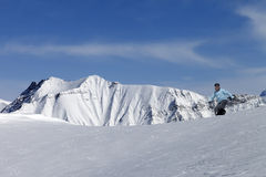 Snowboarding in mountains Royalty Free Stock Photography